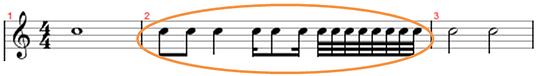 figures inside musical bar line