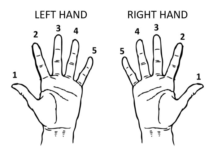 numbering hands piano